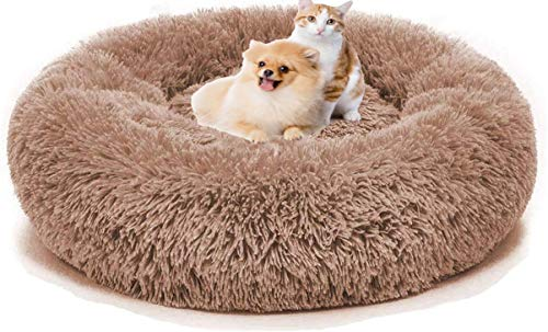 不适用 Super Soft Dog Mat Round Washable Long Plush Dog Kennel Cat House Velvet Mats Sofa for Dog Basket Pet Bed (28inch, Coffee)