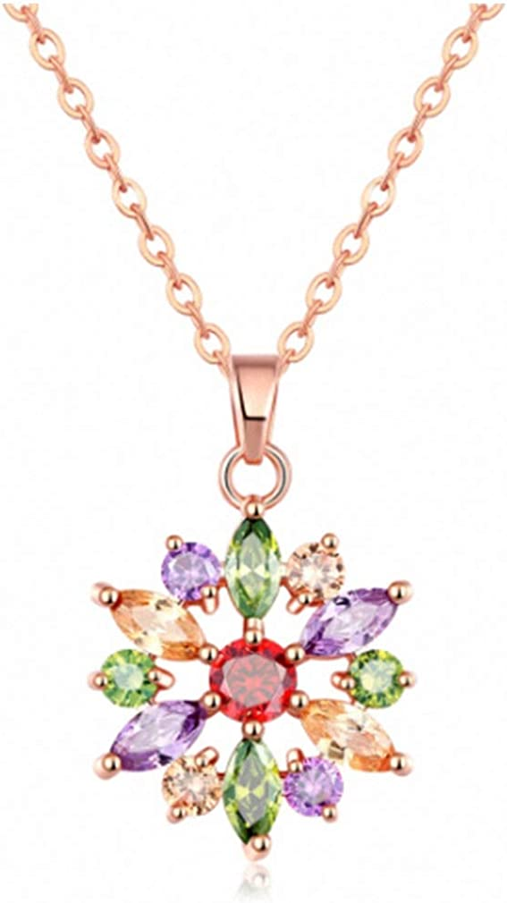 Xileg Girls Favorites Flower Shape Necklace Multi-Color Zircon Stone Rose Gold Color Chain with Pendent for Women Party