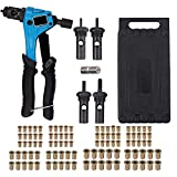 ESYNiC Kit 8' Rivettatrice Professionale con 100pz Rivetti Dadi M3 M4 M5 M6 Pinza Pistola Manuale a Rivetti Mandrini Dadi Rivettatrice per Inserti Filettati per Auto Rimorchi Mobili Industria - Blu