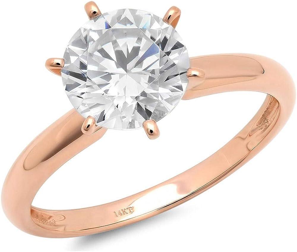 0.8ct Round Brilliant Cut Classic Wedding Statement Anniversary Designer Bridal Solitaire Engagement Promise Ring Solid 14k Rose Gold, Clara Pucci