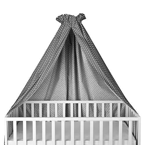 Sugarapple Himmel für Kinderbetten, Babybetten seitlich, quer verwendbar, grau mit weißen Sternen, 100% Öko-Tex Baumwolle, 280x170 (BxH) cm