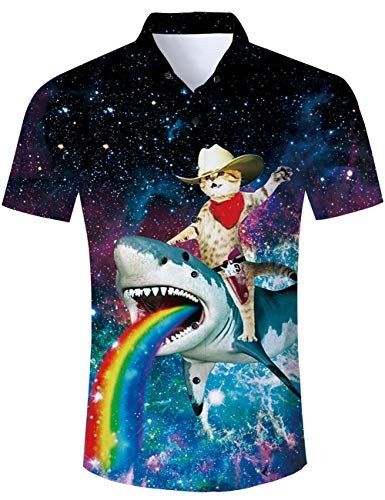 TUONROAD Mens Shirts Funny Shark Cat 3D Shirt Bright Coloured Galaxy Summer Short Sleeved Shirt Birthday Party Hawaiian Shirt L