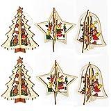 sus 6 pièces 3D Ornements en Bois de Noël, Pendentif Décoration d'arbre de Noël, Ornements Suspendus Décor de Noël, pour Arbre de Noël, Plafond, Fenêtre, Mur