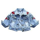 Primavera Otoño Niños Ropa Niño Rosa Bordado Bebé Niña Ropa de Abrigo Chaquetas Niños Tops Jeans Wear