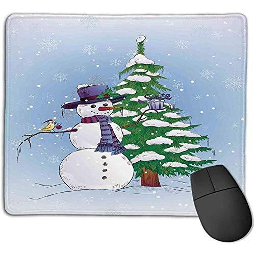 muismat kerstversiering sneeuwman in de winter met maretak cadeau top hoed en sjaal boom en vogel blauw groen l offic
