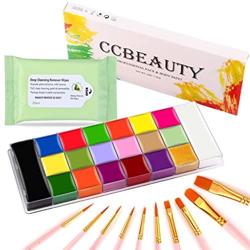 CCbeauty Professional Face Body Paint Kit Makeup Palette 20 Colors (14 Regular +...