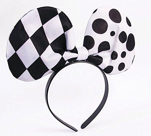 Forum Novelties X76451 Damen-Kopfband mit Schleife, für Harlekin- / Clown-Kostüm, Schwarz/Weiß, Einheitsgröße