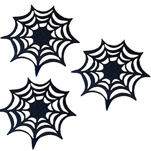 Wakauto 10 Piezas Posavasos para Bebidas No Tejidos Aislamiento Térmico Tela de Araña de Halloween Manteles Individuales Esteras para La Mesa Decoraciones de Halloween