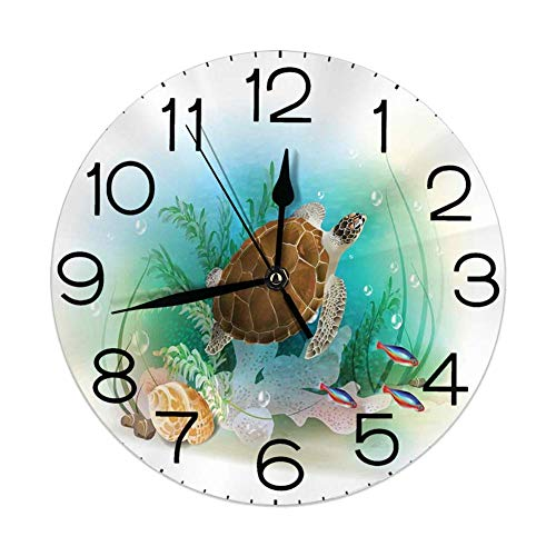 Runde Wanduhr Startseite dekorativ, schwimmt Meeresschildkröte im Ozean Tropische Unterwasserwelt Aquarium Illustration Print für Wohnzimmer Büro Schlafzimmer