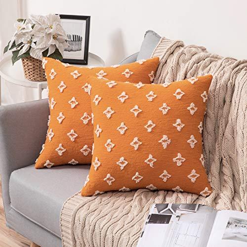 MIULEE 2 Piezas Funda de Cojines con Flores Elegante Cremallera Invisible Funda de Almohada Color Sólido Moderna Decorativa para Habitacion Sofá Cama Dormitorio Oficina Sala de Estar 45X45cm Naranja