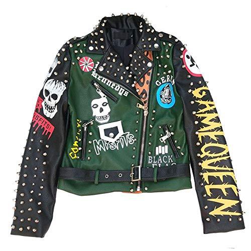WLKFHBVV Giacca Verde da Donna con Teschio Moda Autunno Stile Punk Motociclista Giacche e Cappotti Streetwear @ M