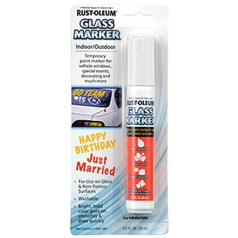 Rust-Oleum 267963 Soap and Water Washable Leaving no Residue Glass Marker, White,