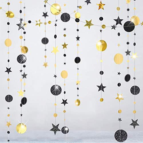 Glitter Black Gold Party Decorations Moon Star Garland Ramadan Hanging Stars Circle Streamer Banner Backdrop Background for Wedding Birthday Bday Bachelorette Retirement New Year EID Graduation Decor