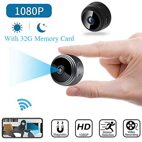 RedcolourfulMini - Cámara de seguridad inalámbrica (Wi-Fi, IP, HD 1080P, con tarjeta de memoria de 32 GB)