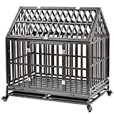 Heavy Duty Dog Crate Cage Kennel Playpen Large Strong Metal for Large Dogs Cats with Two Prevent Escape Lock and Four Lockable Wheels, Easy to Assemble