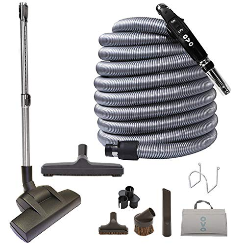 OVO Central Vacuum Kit, with 50ft Low-Voltage Hose, ON/Off Control at The Handle, Air Driven Carpet Beater, 12'' Floor Brush and Accessories, black and grey