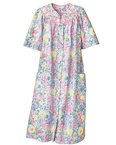 National Trapunto Yoke House Coat, Multi Floral, 1X