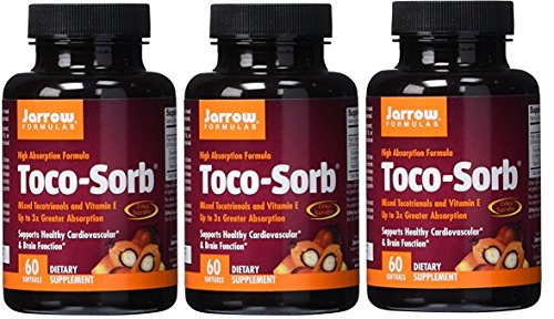 Jarrow Formulas Toco-Sorb, Supports Healthy Cardiovascular & Brain Function, 60 Softgels (Pack of 3)