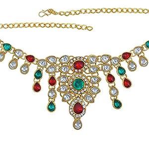 Memoir Brass Gold Kundan Colourful Flower Pattern Kamarbandh Traditional Wedding Jewellery Women