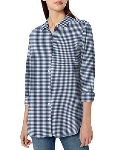 Goodthreads Solid Brushed Twill Long-Sleeve Boyfriend dress-shirts, Navy/White Gingham, US S (EU S - M)