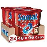 Somat Excellence 4in1 Caps (96 Caps), Spülmaschinentabs in 100 % wasserlöslicher Hülle, Somat Caps für exzellente Reinigung & Glanz