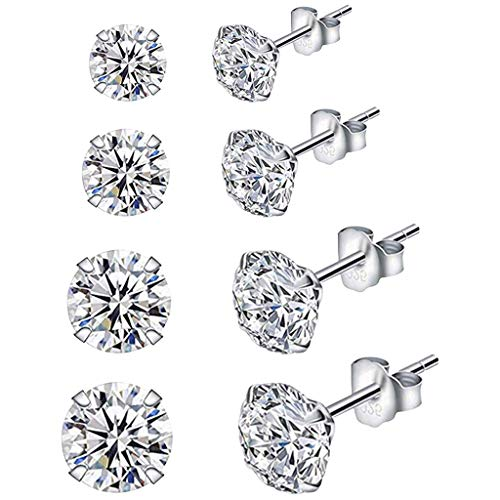 happysdh Four Pairs of Ear Studs Solid 925 Sterling SilverZirconia Round Stud Earrings for Women and girls for Valentine's Day(3/4/5/6mm)