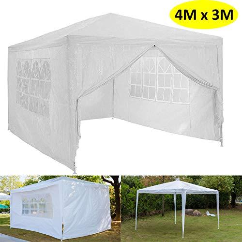 Autofather - Carpa para fiestas (3 x 4 m, 4 paneles laterales extraíbles, 120 g, resistente al agua, polietileno), color blanco