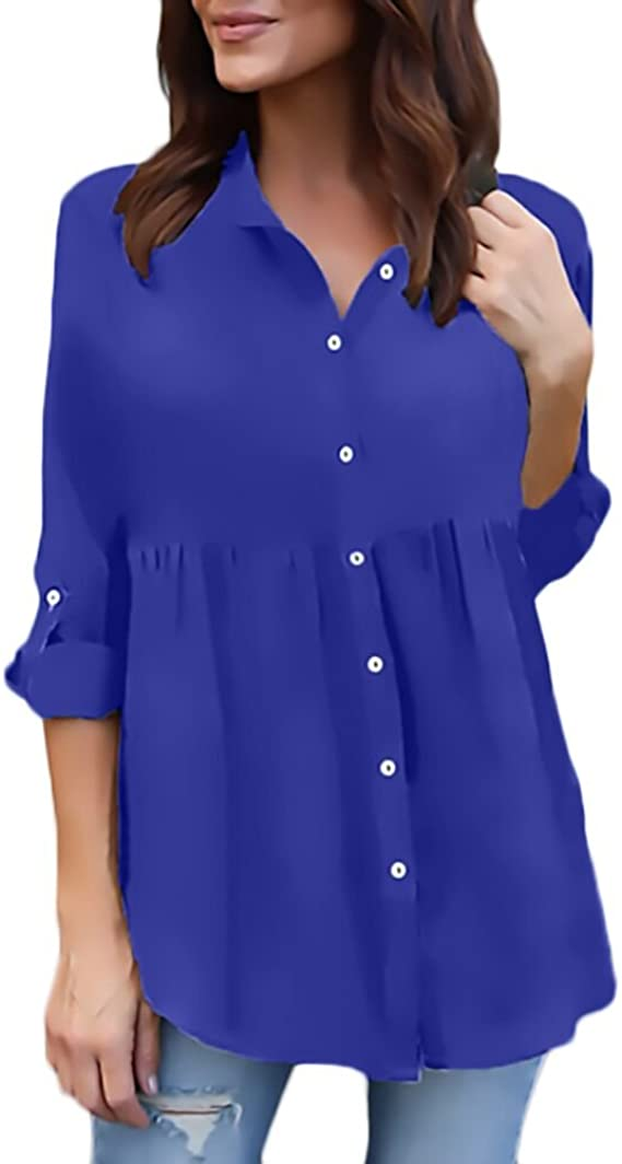 Camisas Mujer Tallas Grandes Manga Larga Chiffon Tul Blusas Casual Elegantes Camiseta con Volantes Anchos Tops V Cuello Classic Blusones Primavera ...