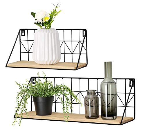 Mkono Set of 2 Wall Floating Shelves Rustic Modern Wood Wall Storage Shelves with Metal Wire Display Shelf for Bedroom Living Room Bathroom Kitchen Office, Beige