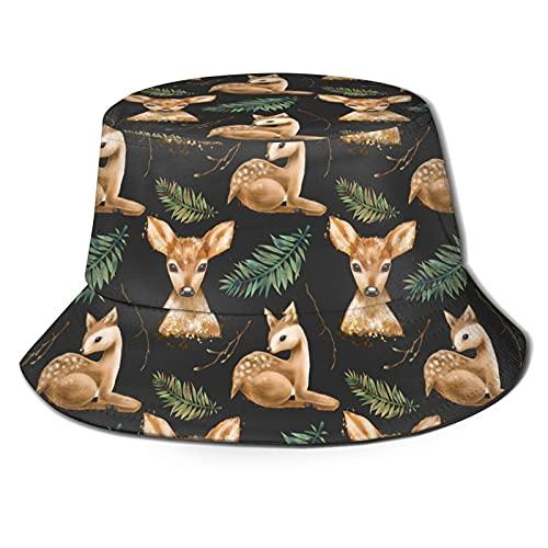 Sombrero de cubo de moda, acuarela bebé ciervos helecho hojas sombrero de sol lindo al aire libre plegable ala ancha sombrero de pescador