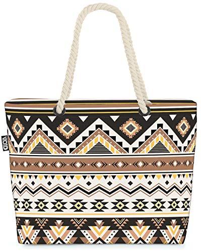 VOID Azteken Ethno Muster Strandtasche Shopper 58x38x16cm 23L XXL Einkaufstasche Tasche Reisetasche Beach Bag