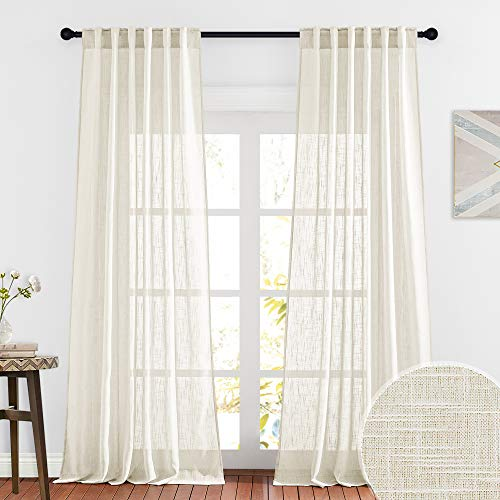 RYB HOME Extra Long Sheer Curtains - Linen Textured Privacy Semi Shears for Sliding Glass Door Hotel High Ceiling Window Living Room, Warm Beige, W 52 x L 108 inches Long, 1 Pair