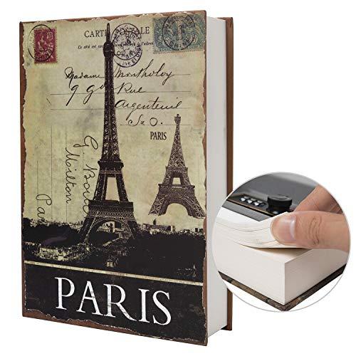 Boîte de Rangement sûre de Livre de détournement de Papier réel, Coffre-Fort Secret de Dictionnaire avec Serrure de Code/clé, Coffre-Fort caché de Livre de Flip (Clé, Paris)
