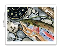 「Trophyレインボー」–セットof 10Fly Fishing NOTE CARDS WITH ENVELOPES