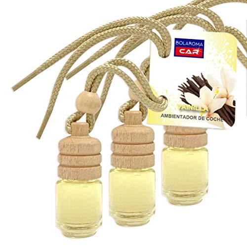 BOLAROMA Pack 3 ambientadores Coche Botella 4,5 ml Fragancia Vainilla