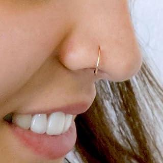 Diversa Piercing - Naso Anello in Oro 750, Hoop Anello Aperto per Naso, Anello Naso in Oro 18 Carati Bianco o Giallo