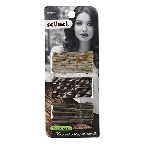 Scunci Color Match Curved Bobby Pins, Brunette, 0.3 Ounce