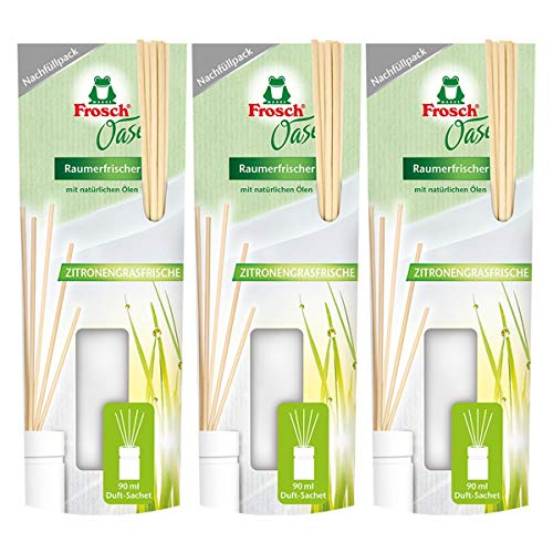 3x Frosch Oase Raumerfrischer Zitronengrasfrische Nachfüllpack 90 ml