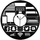 Wanggang Geek Gadget Vinilo Registro Retro Pared Reloj año Nuevo Navidad cumpleaños Regalo Personalidad Creativo diseño casero decoración de Pared