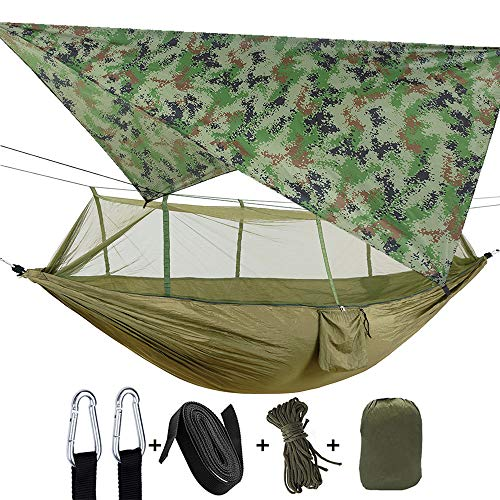 Camping Double Hammock with Mosquito Net Hammock, Tent, Straps Heavy Duty Lightweight Nylon Portable Rainproof Jammock for Hiking Outdoor Travel Beach Survival Backyard (Dark Green+Camouflage)