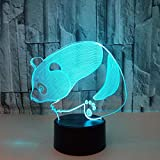YKL World 3D Illusion Lamp LED Panda Night Light Animal Toys 7 Color Changing Touch Sensor Desk Table Lamp with USB Cable Decoration for Nursery Bedroom Kids Birthday Gifts