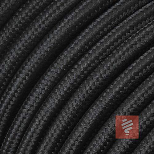 Textilkabel für Lampe, Textilummanteltes Rundkabel, dreiadrig 3x0,75mm², Schwarz - 50 Meter Rolle