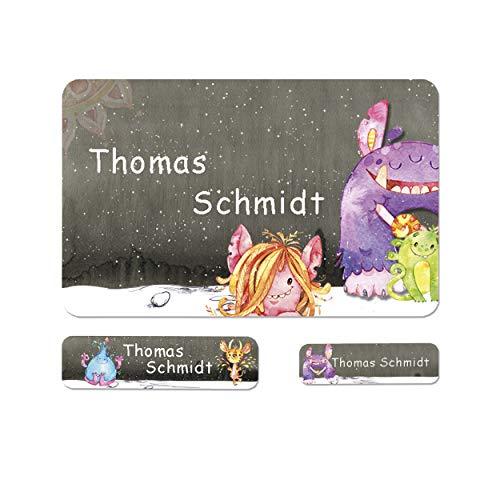 Sunnywall® Monster Namensaufkleber Stife-Aufkleber Federmappe Kinder Namen Sticker Aufkleber Sticker 79 Stück Schule und Kindergarten - wasserfest