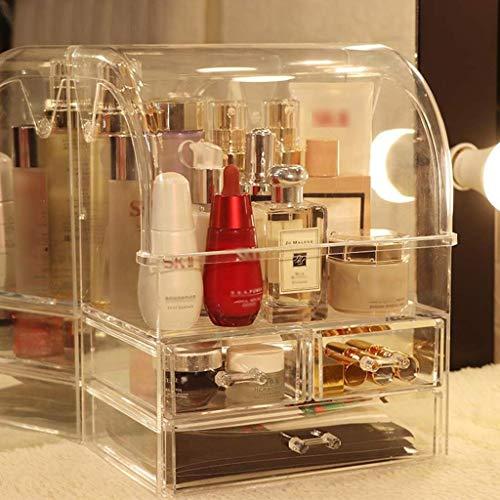 Maquillage Sac cosmétiques Boîte de rangement Coiffeuse Boîte de finition Masque Rouge à lèvres Soin de la peau Supports Tiroir typable acrylique Matériau de la manche d'une seule main transparent