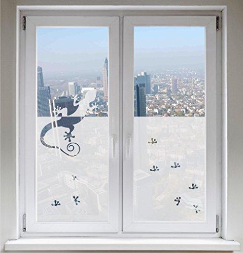 INDIGOS UG Sichtschutz Sonnenschutz Fensterbild Glasdekorfolie Gecko satiniert Blickdicht ORACAL® - 600mm Breite x 500mm Höhe - auch mit Individueller Breite