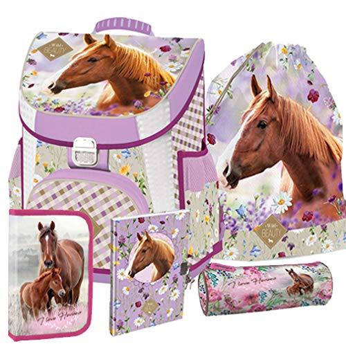 Pferde Horse Wild Beauty Schulranzen Tornister Schultasche Ranzen Set Schulrucksack