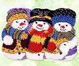 Muñeco De Nieve De Navidad 3D Tapiz Kits De Bricolaje Latch Hook Rug Lienzo Impresión Trabajo Hecho A Mano De Alfombras Bordado Hecho A Mano Set De Accesorios,Color Canvas,50cm/20inch