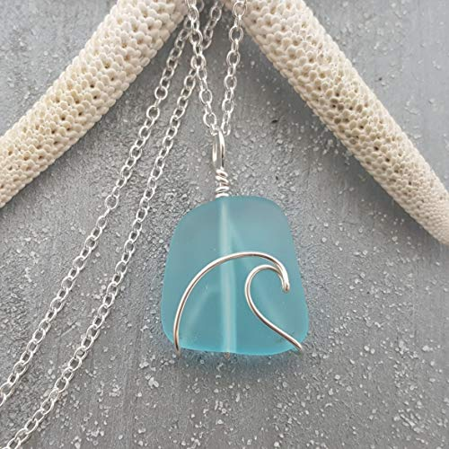 Handmade in Hawaii, wire wrapped ocean wave blue sea glass necklace, (Hawaii Gift Wrapped, Customizable Gift Message)