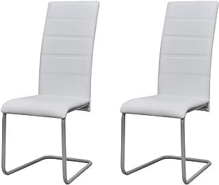 Luckyfu Juego de 2 sillas de comedor Cantilever blancas. Silla de diseño elegante y único. Sillas de cocina modernas, sillas de comedor, comedor