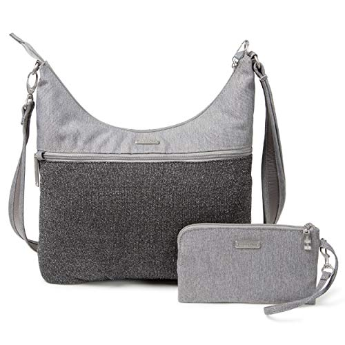 Baggallini Anti-Theft Hobo Bag - Stylish Travel Purse With Locking Zippers and RFID-Protected Wristlet, Gray Design